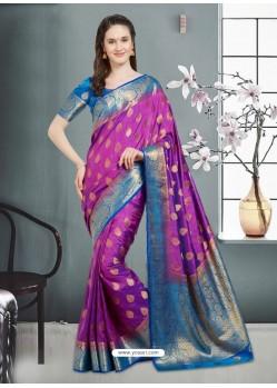Asthetic Purple Banarasi Silk Saree