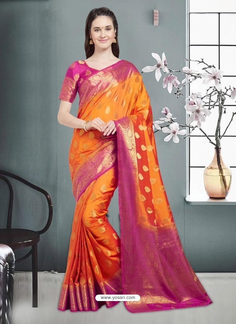 Fashionable Orange Banarasi Silk Saree