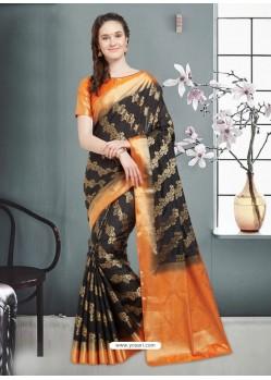 Astounding Black Banarasi Silk Saree