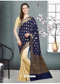 Stunning Navy Blue Banarasi Silk Saree