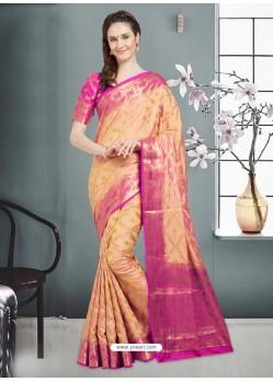 Sensational Beige Banarasi Silk Saree