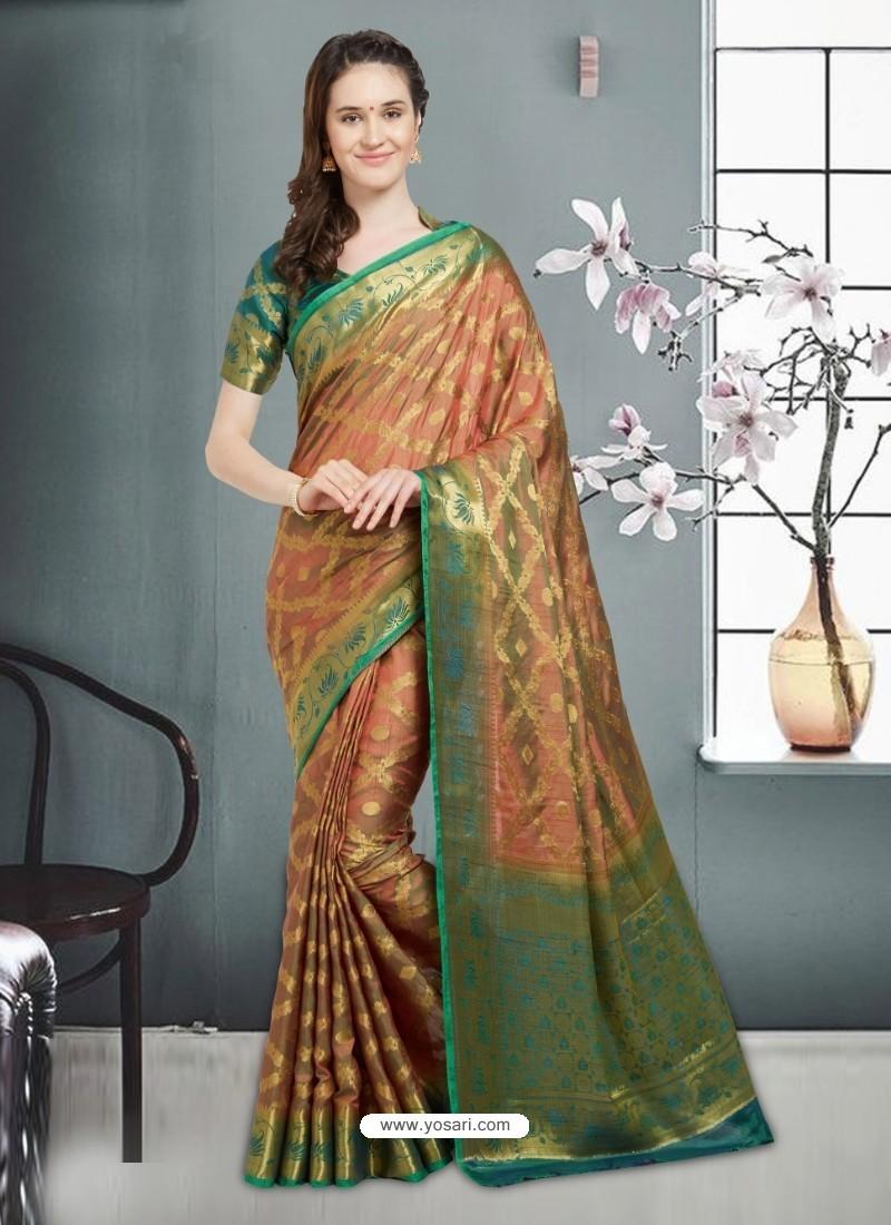 Remarkable Mustard Banarasi Silk Saree