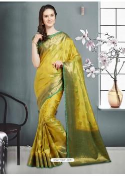 Spectacular Mehendi Banarasi Silk Saree