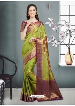 Stupendous Green Banarasi Silk Saree