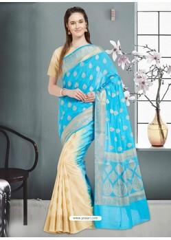 Wonderful Turquoise Banarasi Silk Saree