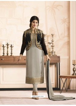 Silver Georgette Embroidered Suit