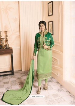 Parrot Green Georgette Embroidered Suit