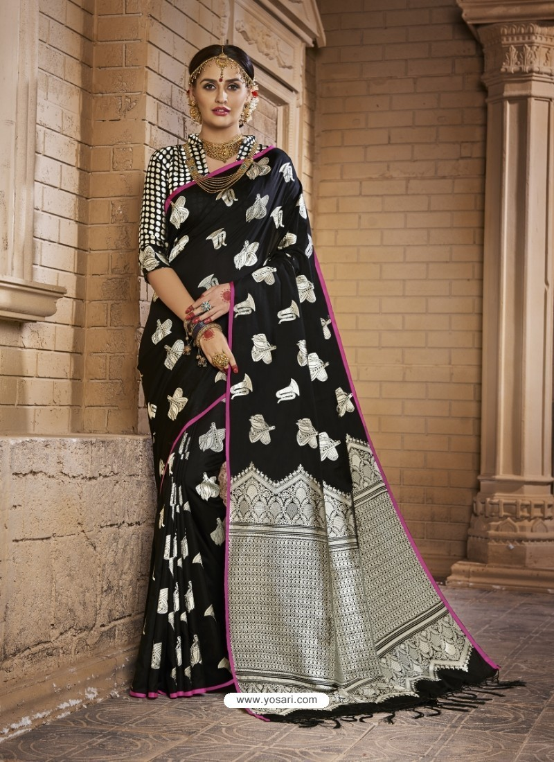 1824ed587ea2e5 Buy Admirable Black Silk Saree