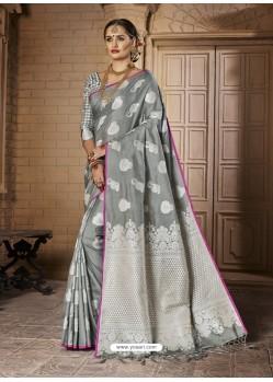 Radiant Silver Silk Saree