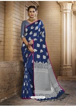 Exceptional Dark Blue Silk Saree