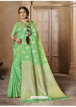 Fashionistic Green Silk Saree
