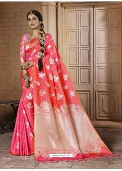 Beauteous Peach Silk Saree