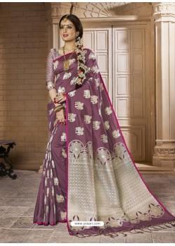 Astonishing Wine Silk Saree