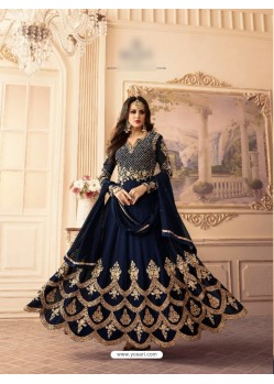 Navy Blue Georgette Embroidered Floor Length Suit