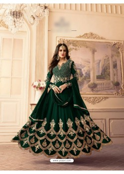 Dark Green Georgette Embroidered Floor Length Suit