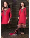 Magenta Cotton Churidar Suit
