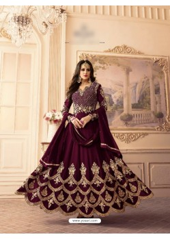 Maroon Georgette Embroidered Floor Length Suit
