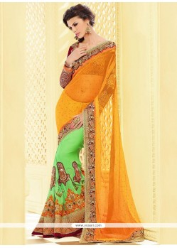 Green And Yellow Pure Georgette Designer Saree