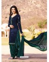 Navy Blue Crepe Embroidered Suit