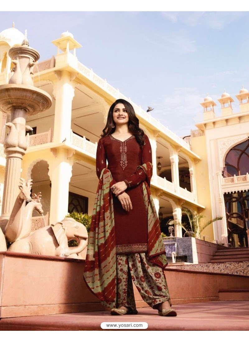 Wine Crepe Embroidered Suit