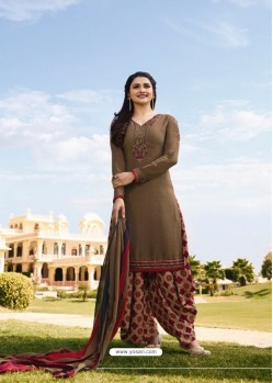 Camel Crepe Embroidered Suit