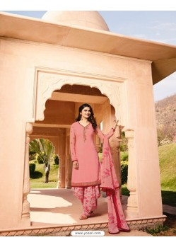 Peach Crepe Embroidered Suit