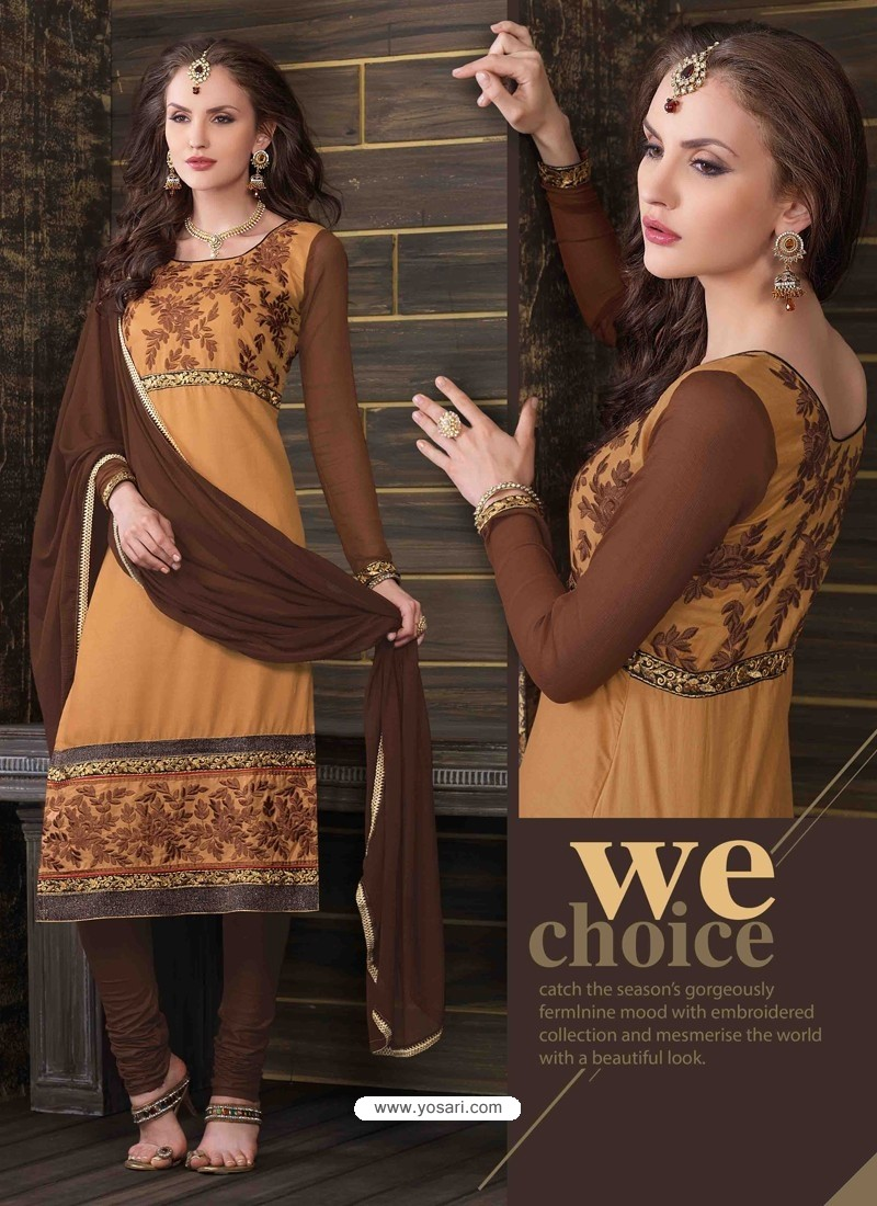 Brown Cotton Churidar Suit