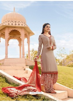 Dusty Pink Crepe Embroidered Suit