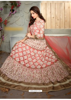 Astounding Peach Net Embroidered Lehenga Choli