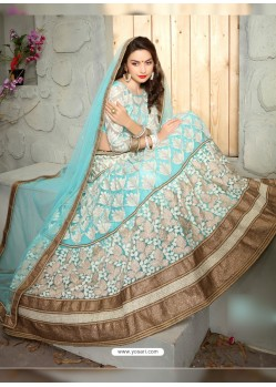 Stunning Sky Blue Net Embroidered Lehenga Choli