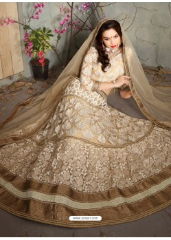Sensational Beige Net Embroidered Lehenga Choli