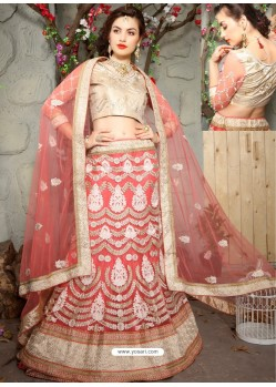 Spectacular Peach Net Embroidered Lehenga Choli