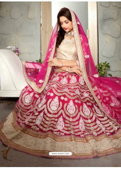 Stupendous Crimson Net Embroidered Lehenga Choli