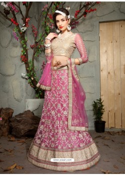 Unbelievable Pink Net Embroidered Lehenga Choli