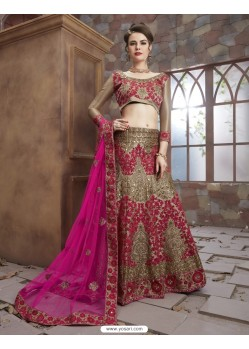 Astonishing Crimson Rai Dana Embroidered Lenhenga Choli