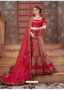 Stupendous Crimson Tourky Silk Embroidered Lenhenga Choli