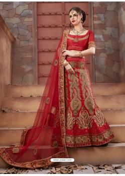 Wonderful Crimson Tourky Silk Embroidered Lenhenga Choli