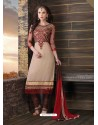 Brown And Grey Cotton Churidar Suit