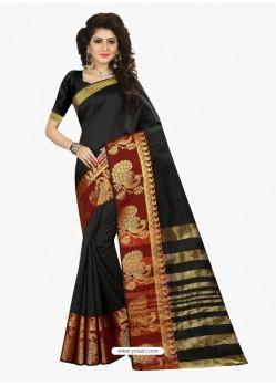 Pleasing Black Jacquard Silk Saree