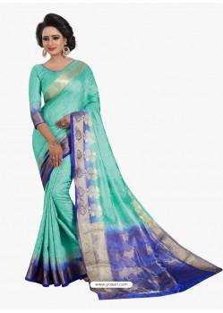 Heavenly Aqua Mint Banarasi Silk Saree