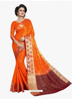 Glamorous Orange Banarasi Silk Saree