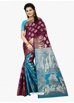 Elegant Turquoise Banarasi Silk Saree
