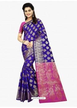 Enhanting Royal Blue Banarasi Silk Saree