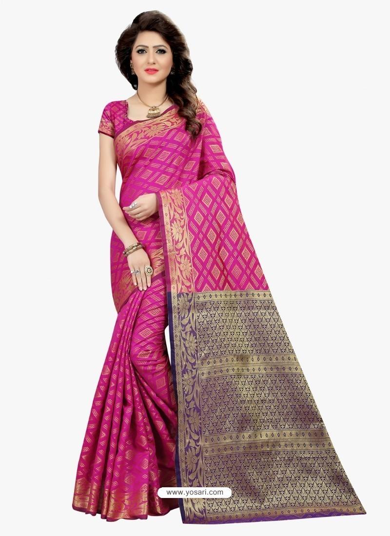 Awesome Pink Banarasi Silk Saree