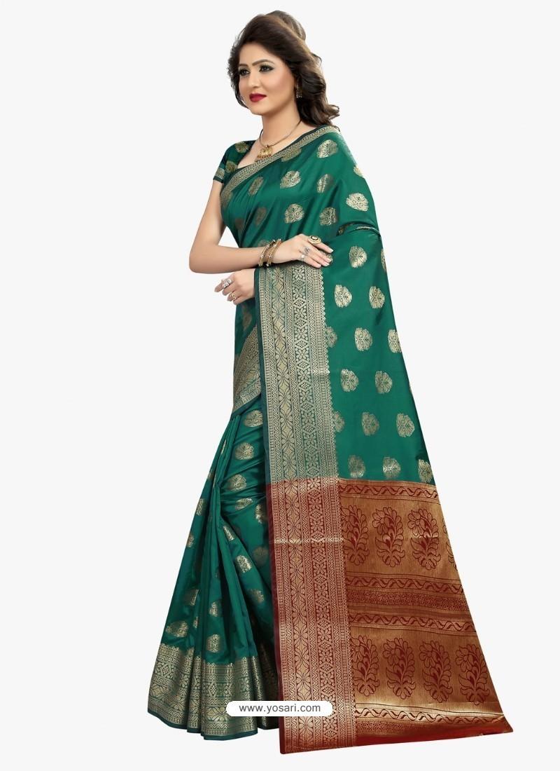 Asthetic Teal Banarasi Silk Saree
