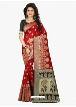 Astonishing Crimson Banarasi Silk Saree