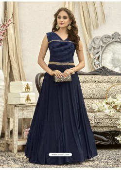 Eye Catching Navy Blue Gown