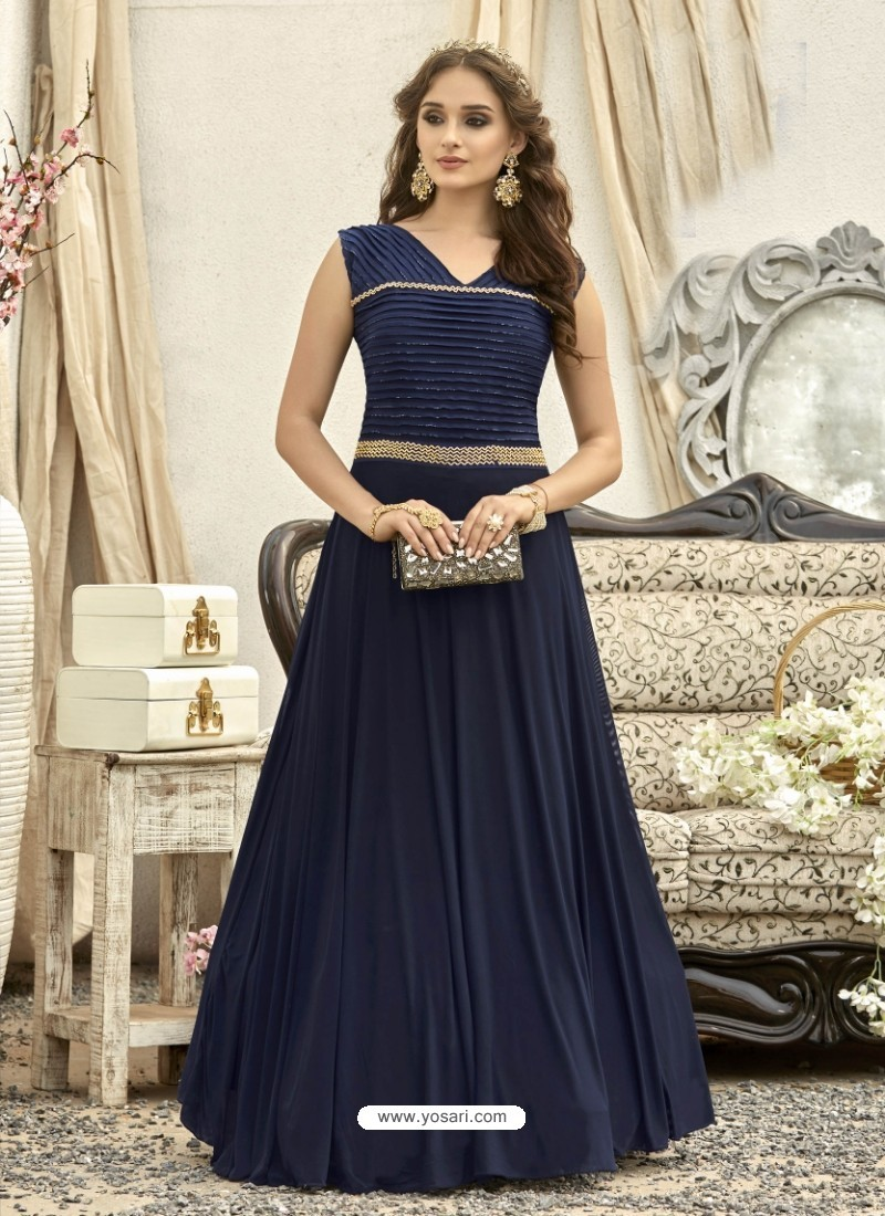 Buy Eye Catching Navy Blue Gown | Gowns