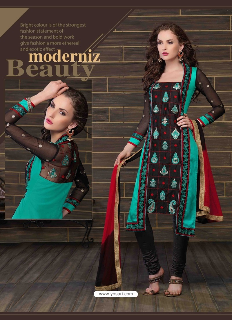 Black And Green Cotton Churidar Suit