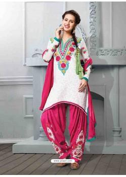 Pink And White Cotton Jacquard Punjabi Patiala Suit